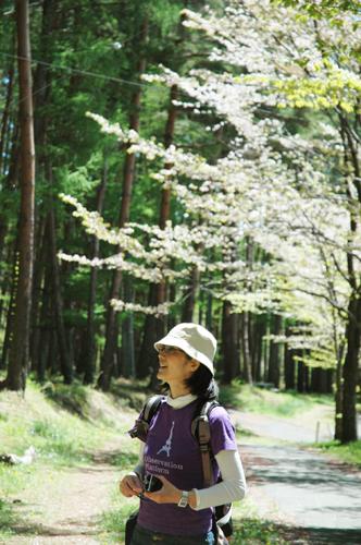 桜の花びらを追いかける写真母さん
