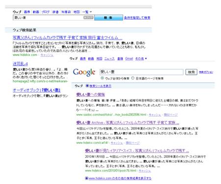 yahooとgoogleの愛しい妻検索結果