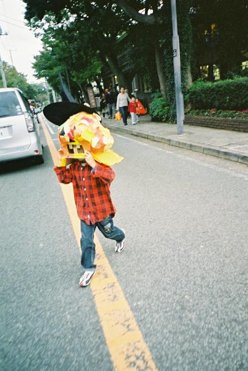 道路を渡るかぼちゃ